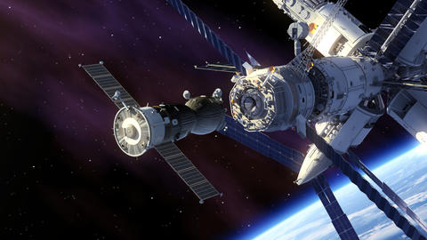 Docking Of Spacecraft And Space Station Animation