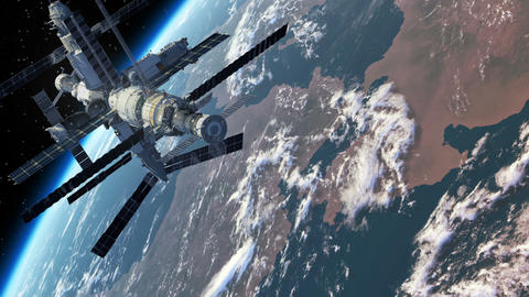 Flight Of The Space Station Above The Earth Animation