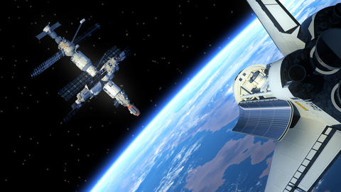Space Station And Space Shuttle stock footage