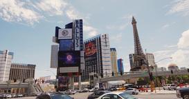Steadicam Las Vegas Sign . Eiffel Tower stock footage