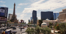 Steadicam Las Vegas . View Hotel Paris, Eiffel Tower stock footage