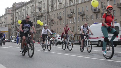 Cyclists on the Moscow cycle parade Footage