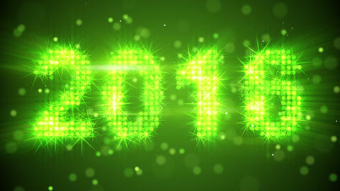 new year 2016 greeting glowing green particles loop Animation