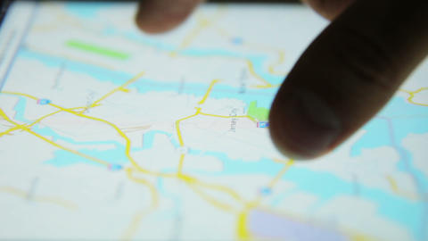 Surfing Internet Map Tablet Close Up 04 stock footage