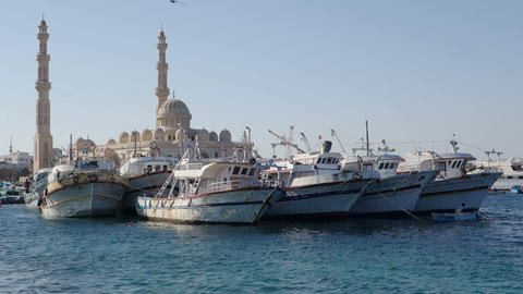 El Mina Mosque And Port In Hurghada stock footage