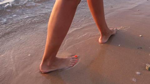 Woman Walking On Beach stock footage