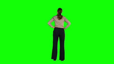 Businesswoman Standing With Hands On Hips stock footage