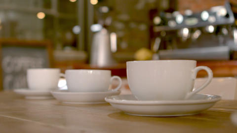 Cups And Saucers On Cafe Table stock footage