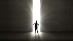 Businesswoman looking at light shining through opening Animation