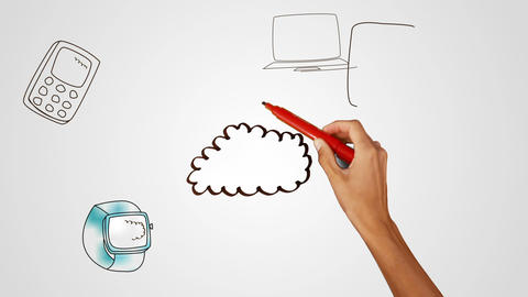 Hand drawing cloud with media devices Animation