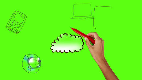 Hand drawing cloud with media devices on green screen Animation