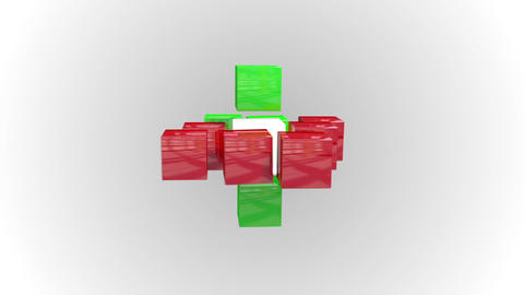 Red and green abstract cube grid Animation