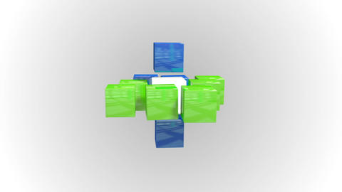 Blue and green abstract cube grid Animation