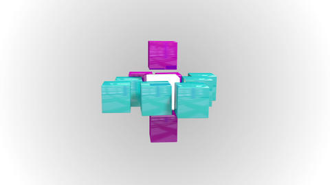 Blue and purple abstract cube grid Animation