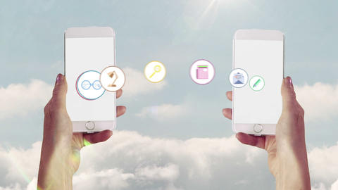 Apps transferring from one smartphone to another Animation