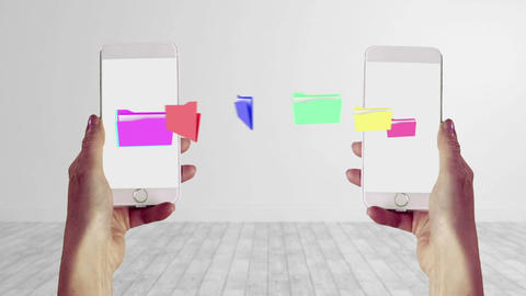 Files transferring from one smartphone to another Animation