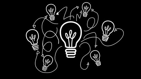 Light bulb appearing in black and white Animation