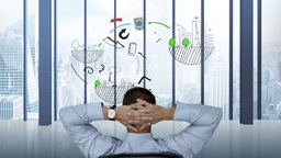 Businessman watching business brainstorm appear Animation