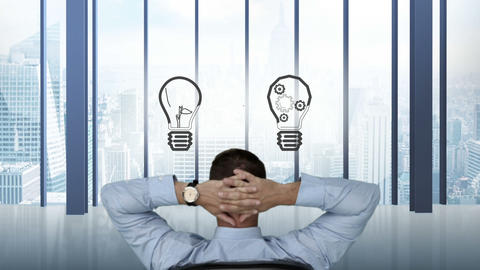 Businessman watching light bulbs appear Animation