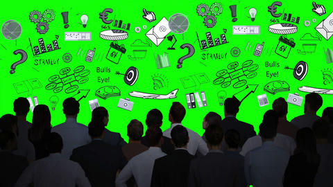 Business people looking at graphics on green screen Animation
