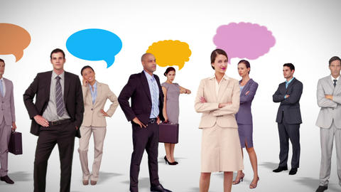 Business team standing with speech bubbles Animation