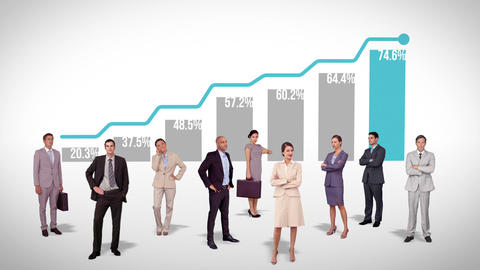 Business team standing against profitable graph Animation