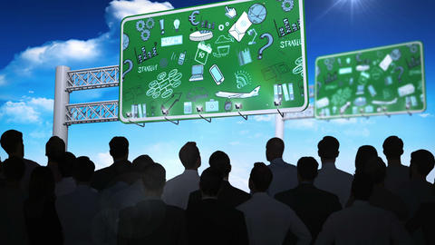 Business people watching brainstorm on billboards Animation