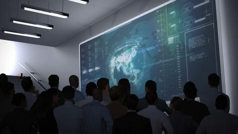 Business people watching data interface on screen Animation