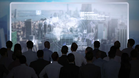 Business people watching tech interface on screen Animation