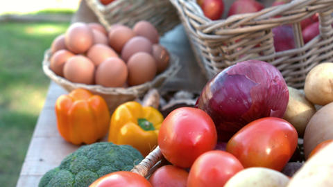 Overview Of Organic Vegetables On Stall In Slow Motion stock footage