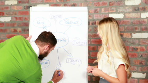 Casual business team brainstorming together Footage