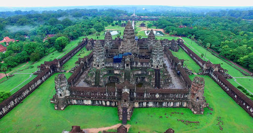 entire Angor Wat compound aeiral 4k - flying backwards Footage