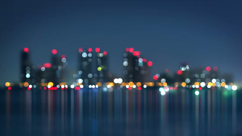Waterfront Of City At Night Blurred Loopable 4k (4096x2304) stock footage