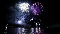 Fireworks On Water - Loop + Sound - 01 stock footage