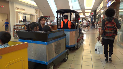Shopping Mall People - 02 - Train with Kids Footage