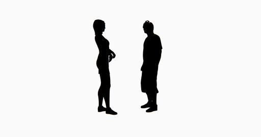 4k two people silhouette talking Footage