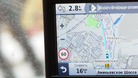 GPS in car showing way, speed and distance Footage