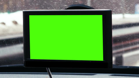 GPS device with chroma key over dashboard Live Action