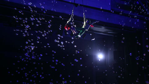 Child Aerial Performers Show in Circus Footage