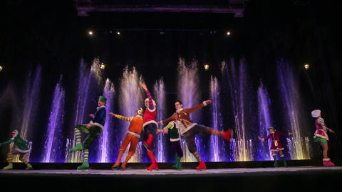 Ice-dancing on the stage with fountains Footage