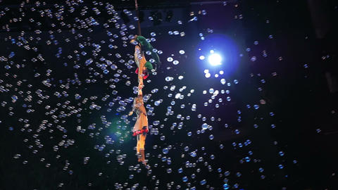 Impressive Circus Act of Little Aerial Performers Footage