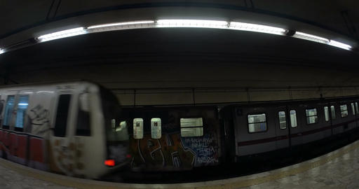 Two trains leaving underground station Footage