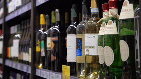 Great assortment of wines in the store Footage