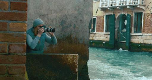 Woman taking shots of sailing boat Footage