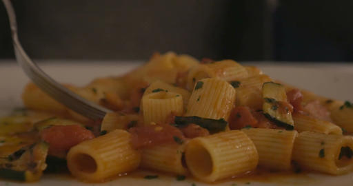 Eating delicious pasta dish Live Action