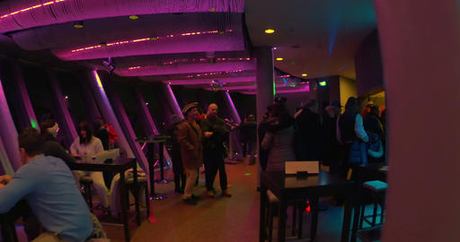 Walking through Top 180 restaurant in Rheinturm at night Footage