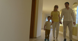 Young Family Walking over the Passage Footage