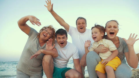 Big Happy Family Waving Hands Footage