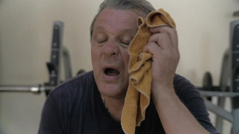 Intensive training made him sweaty and tired Footage