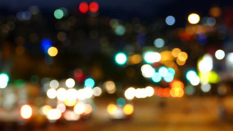 Night City Street - Traffic Lights Bokeh stock footage